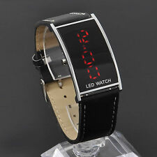 Mens LED Digital Date Watch Leather Strap Stainless Steel Casual Wristwatch New