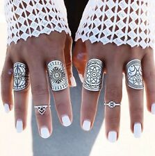 ✨GYPSY✨4pcs SILVER Totem Stacking Rings Boho Ring Set Pattern Knuckle Midi Layer