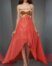 NWD SHIMMER by Bari Jay sequin/Beading Party /Prom Dress sz 0 Coral/Gold