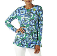 NEW Isaac Mizrahi Live! Floral Peplum Flounce French Terry Top Size XS (1V)