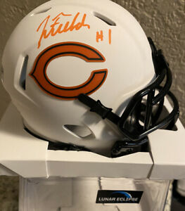 JUSTIN FIELDS Chicago Bears signed lunar eclipse mini helmet Beckett Auto