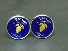 Israel enamelled coin cufflinks 25 Pruta grape cluster 19mm.
