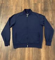 Brunello Cucinelli Blue Baseball Collar Full Zip Sweater L Large Cotton Blend
