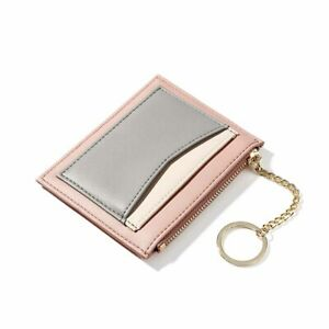 Womens Mini Slim Credit Card Wallet with Zippered Coin Purse Vegan Leather