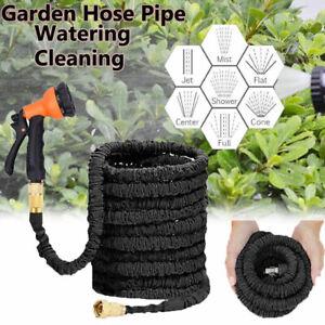 Expandable Garden Hose Pipe Spray Gun Flexible Expanding Stretch Pipes 25-200FT