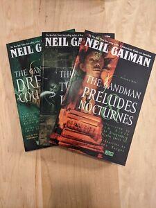 The Sandman Volumes 1, 2 & 3 Trade Paperback Lot Neil Gaiman