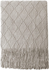 Bourina Beige Throw Blanket Textured Solid Soft Sofa Couch Cover Decorative Knit