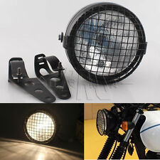 Universal Motorcycle Headlight + Metal Grill Cover Brackets Kit Cafe Racer Black