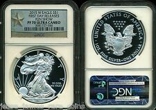 2015 W NGC PF70 SILVER PROOF EAGLE FIRST DAY FUN SHOW RELEASES STAR LABEL .999