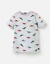Tom Joule Neu Jungen Olly Bedrucktes T-Shirt - Graue Dinos