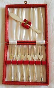 Vintage Silver Plated Dessert Forks with Cake Slice In Original Box.