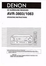 Denon user manual  Bedienungsanleitung owner´s manual für AVR- 1083 / 3803