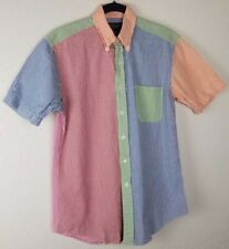 Brooks Brothers Gingham Check Colorful Seersucker Button Front Shirt Small