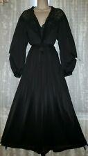 Vtg Black Miss Elaine Peignoir Robe Nightgown Negligee Lace Set S M