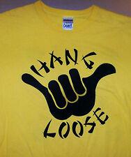 HANG LOOSE / OHANA FAMILY / HAWAII KAUAI / SURF SURFING / YELLOW T-SHIRT SIZE M