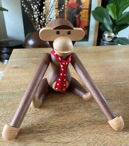 Super Cute Hanging Wooden Monkey - Black Walnut - 28cms - Ornament