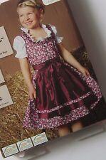 New German Bavarian Girls Dirndl Dress + Blouse + Apron  5-6 years