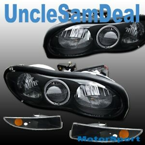 CHEVY CAMARO HALO RIM ANGEL EYE HEADLIGHTS CORNER LIGHTS BLACK 4 PIECES SET