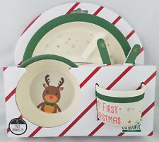 Cookie & Co. Kids Organic 5 Piece Christmas Dinner Set Plate Bowl Fork Spoon Cup