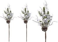 3 Snowy Pine Cone Branch Christmas Pick White Silver Poinsettias Garland Wreath