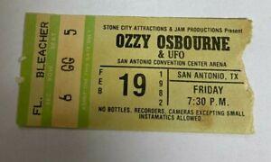 Ozzy Osbourne Concert Ticket Stub Rare 1982 San Antonio Texas Randy Rhoads