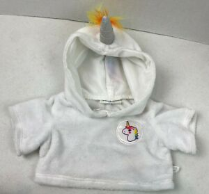 Build a Bear White Rainbow Mohawk Plush Unicorn Hoodie Clothing Shirt EUC #21F