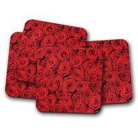 4 Set - Beautiful Red Roses Coaster - Rose Flower Love Girlfriend Gift #13102