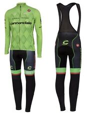 Cannondale Cycling Jersey Mens Long Sleeve + Bib Pants Set Winter Thermal Fleece