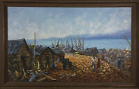 Wesner Pierre Louis - Signed & Framed 1979 Oil, Haitian Town
