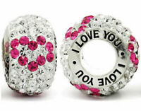 I Love You Charm 925 Silver Pink Heart Bead - Gift for Mum Sister Daughter Nan
