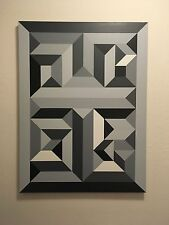 Original Modern Abstract Grey Geometric Painting Grayscale Wall Art  18x24
