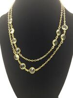 J Crew Smoky Crystal Gold Toned Necklace Wear Long or Doubled Choker EUC