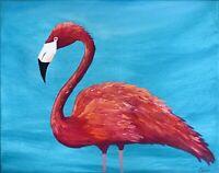 Flamingo Painting Original Art Impasto Canvas Artwork 16 by 20 in by Chernetsova