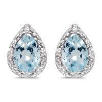 14k White Gold Pear Aquamarine And Diamond Earrings
