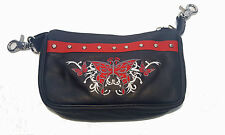 Leather Belt Bag Hip Clip Purse Studded Biker Red Tribal Butterfly Motorcycle