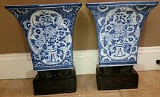 Pair of Maitland Smith Ltd. Blue and White Porcelain Vases with Metal Lion Bases