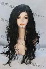 Black Long Wig Stunning Hair with side skin part Dazzling semi Wavy  JSco 1