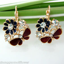 Gp Crystal Ear-Nail Earrings Bh1608 Navachi Butterfly Rose Flower Enamel 18K