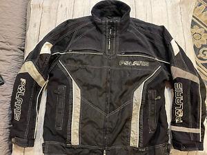 Pure Polaris Velocity Men's Size Large Snowmobile Racing Jacket Coat Black Gray
