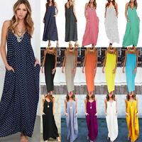 Womens Maxi Boho Long Dress Loose Plus Size Beach Holiday Casual Summer Sundress