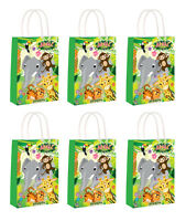 Jungle Animals Party Bags x 6  Loot Bags Girls Boys Birthday Favour Children Fun