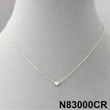 Love Mini Heart Charm Design Silver Finish Cubic Zirconia Stones Dainty  Necklace 7b4025f9ee41