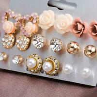 9 Paar Damen Kristall Perle Blume Ohrstecker Ohrringe Schmuck Elegantes Net
