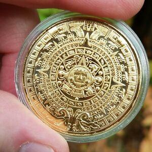 Aztec Calendar (Sun Stone) Coin Golden Commemorative Medallion
