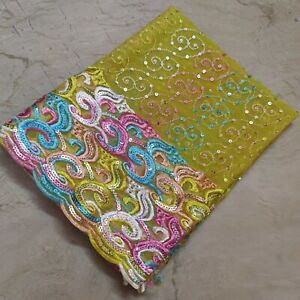 Stunning Indian Dupatta Scarf Long Sequins Hand Embroidery Georgette Veil Stole
