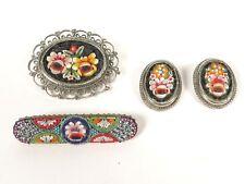Vintage Micro Mosaic Pin Brooch & Earrings Lot Italy
