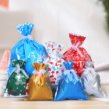 30pcs Xmas Treat Foil Drawstring Bag Christmas Gift Bags Santa Printed Packaging