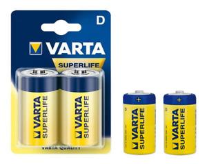 Pile Zinc Carbone Varta LR20 (Type D) SuperLife (2 pièces)