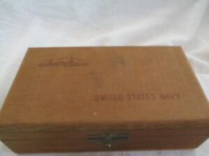 Vintage Wooden Box of United States Navy Issued Plastic Poker Chips