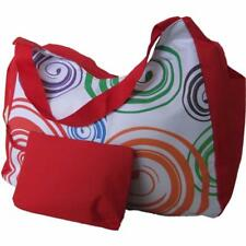 Large Beach Bag Red with Orange Swirls, big huge pockets tote shopping shoulder